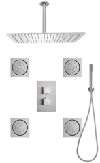 Spa Collection Brushed steel 48-Spray Built-in Shower System (Valve Included)