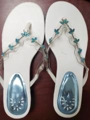 Dainty Ct's Eye Slide Sandals women blue and white- Size 8