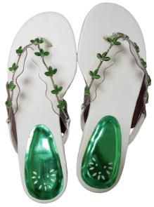 Dainty Ct's Eye Slide Sandals women Green and white- Size 8
