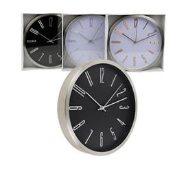 11.5in Stainless Iron Clock - Asst
